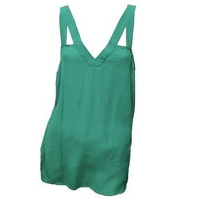 Skies are Blue Green V Neck Strappy Tank Top